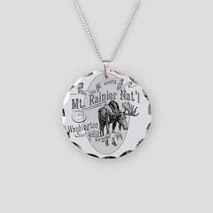 Mt. Rainier Vintage Moose Necklace Circle Charm
