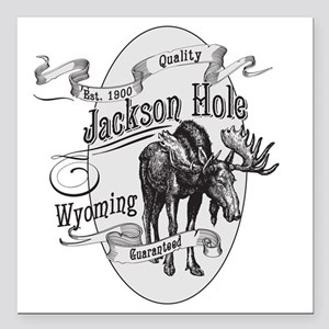 "Jackson Hole Vintage Moo Square Car Magnet 3"" x 3"""