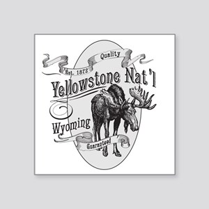 "Yellowstone Vintage Moose Square Sticker 3"" x 3"""