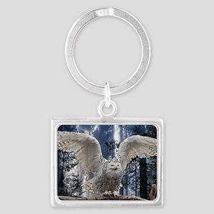 Woody Snow Owl Landscape Keychain