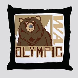 Olympic Grumpy Grizzly Throw Pillow