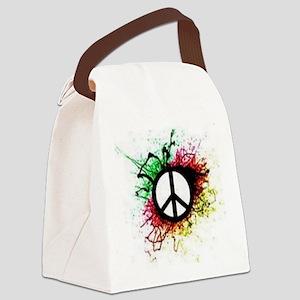 Paint Splatter Peace Sign Canvas Lunch Bag