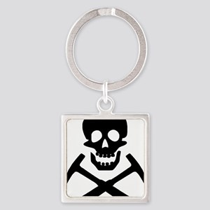 Rockhound Skull Cross Picks Square Keychain