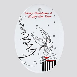 Merry Christmas & Happy New Year Oval Ornament