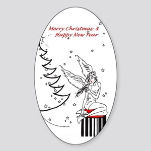 Merry Christmas & Happy New Year Sticker (Oval)