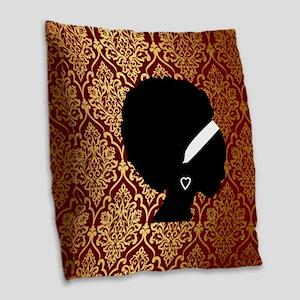 African American Woman Burlap Throw Pillow