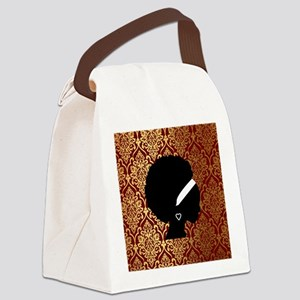 African American Woman Canvas Lunch Bag