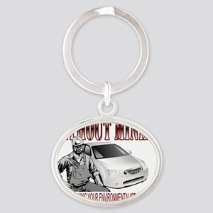 Without Miners Oval Keychain