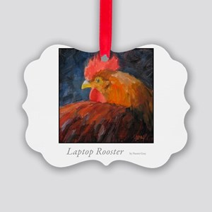 Laptop Rooster Picture Ornament