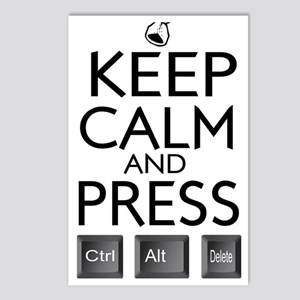 Keep Calm and press contr Postcards (Package of 8)