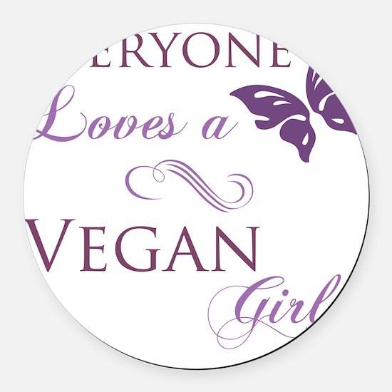 Vegan Girl Round Car Magnet