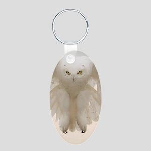 Ghost Owl Aluminum Oval Keychain