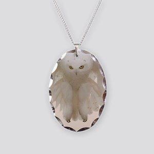Ghost Owl Necklace Oval Charm