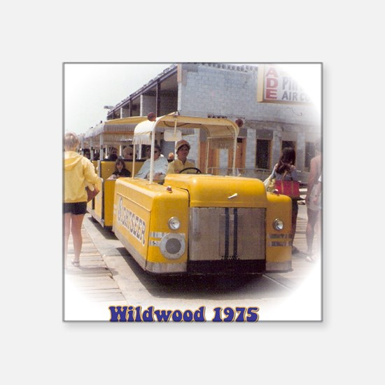 "Boardwalk Tram Square Sticker 3"" x 3"""