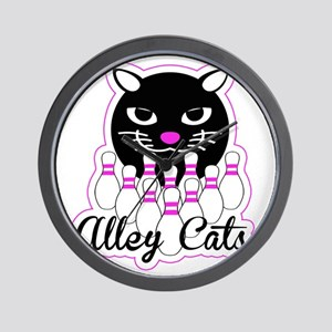 Alley Cat Bowling Wall Clock
