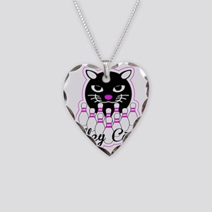Alley Cat Bowling Necklace Heart Charm