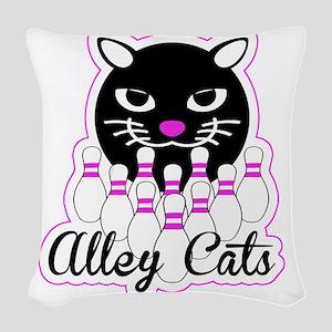 Alley Cat Bowling Woven Throw Pillow