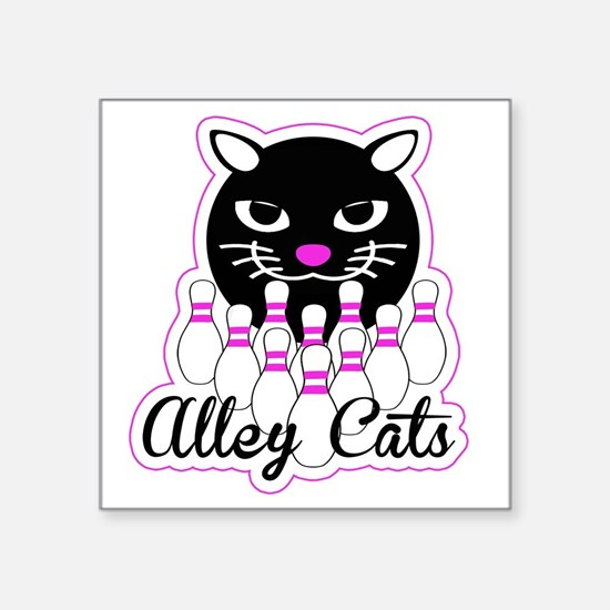 "Alley Cat Bowling Square Sticker 3"" x 3"""