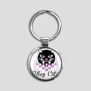 Alley Cat Bowling Round Keychain
