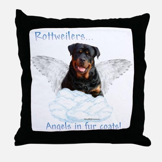Rottie Angel Throw Pillow