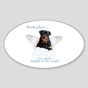 Rottie Angel Oval Sticker