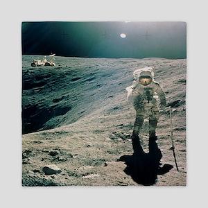 Astronaut Duke next to Plum Crater, Ap Queen Duvet