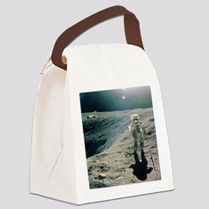 Astronaut Duke next to Plum Crate Canvas Lunch Bag