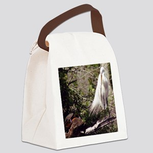 Egret and Turtle Canvas Lunch Bag