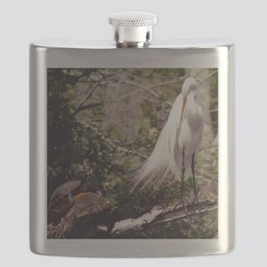 Egret and Turtle Flask