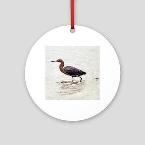 Reddish Egret Wading Round Ornament