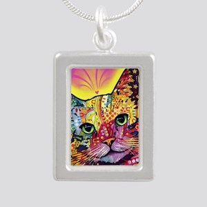 Psychadelic Cat Silver Portrait Necklace