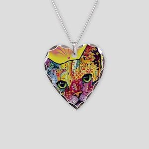 Psychadelic Cat Necklace Heart Charm