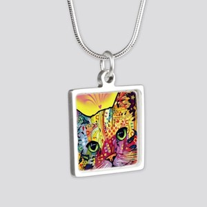 Psychadelic Cat Silver Square Necklace