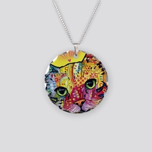 Psychadelic Cat Necklace Circle Charm