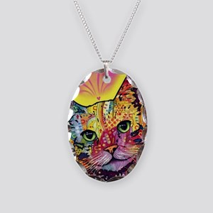 Psychadelic Cat Necklace Oval Charm