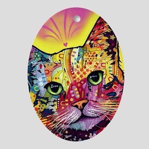 Psychadelic Cat Oval Ornament