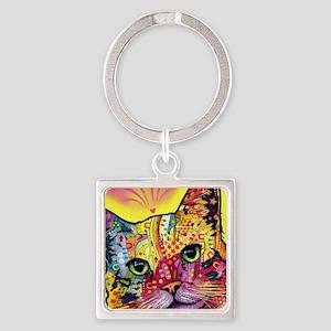 Psychadelic Cat Square Keychain