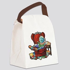 Lil Newt Reading Canvas Lunch Bag