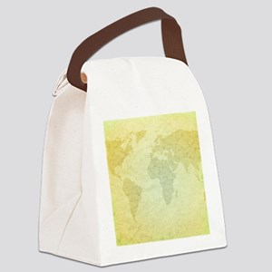 Golden Grungy Map Canvas Lunch Bag