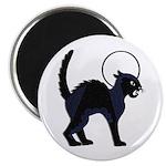 Halloween Black Cat Moon - Round Magnet