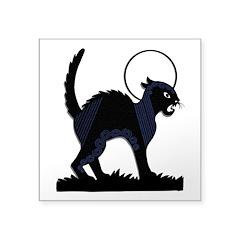 Halloween Black Cat Moon - 3 In. Square Sticker
