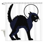 Halloween Black Cat Moon - Shower Curtain