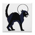 Halloween Black Cat Moon - Tile Coaster