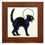 Halloween Black Cat Moon - Framed Tile
