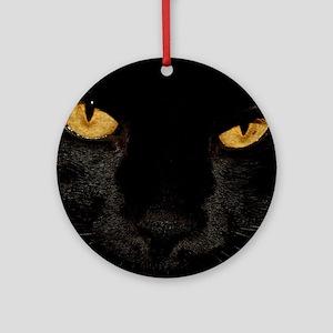 Sexy Black Cat Round Ornament