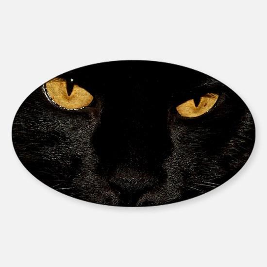 Sexy Black Cat Sticker (Oval)