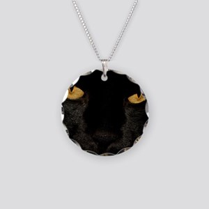 Sexy Black Cat Necklace Circle Charm
