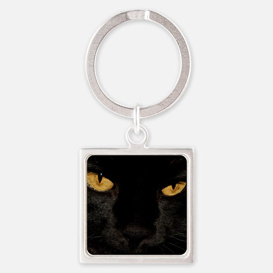 Sexy Black Cat Square Keychain