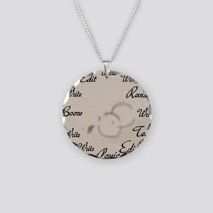 Writer's Clock Necklace Circle Charm