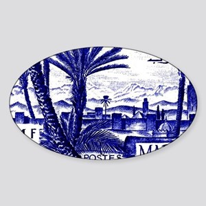 1947 Morocco Marrakesh Postage Stam Sticker (Oval)